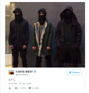 1 Week after white people crazy exploded this is the clothing collaboration kanye drops with french brand APC